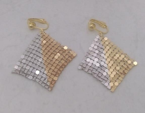 Clip On Earrings in a Shimmering Gold and Silver Mesh - Click Image to Close