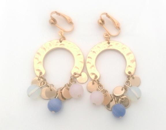 Horseshoe Bohemian Fashion Clip On Earrings, Gold with Beads - Click Image to Close