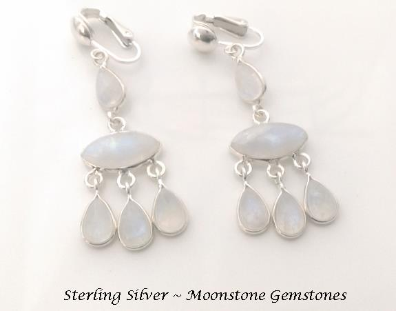 Sterling Silver Clip On Chandelier Earrings, Rainbow Moonstones - Click Image to Close