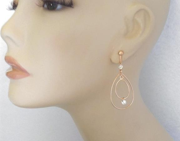 Double Teardrop Rose Gold Clip On Earrings with Crystals - Click Image to Close