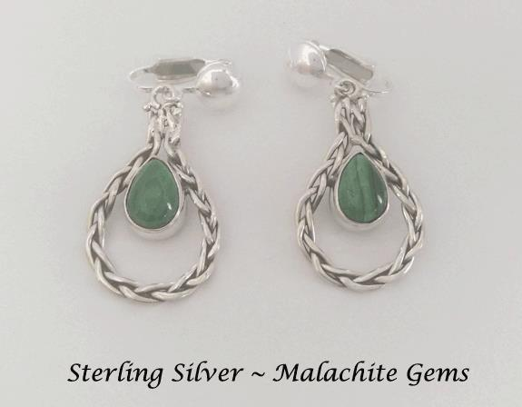 Sterling Silver Dangle Clip On Earrings with Malachite Gems - Click Image to Close