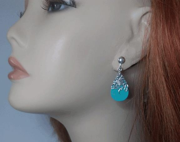 Sterling Silver Filgree Clip On Earrings with Turquoise - Click Image to Close