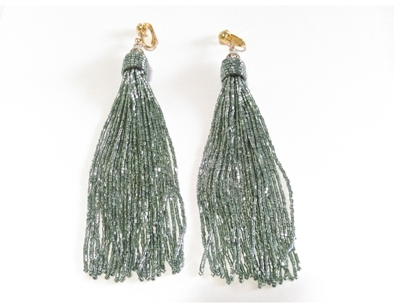 Clip On Tassle Earrings Long Drop Mint Acrylic Strands - Click Image to Close