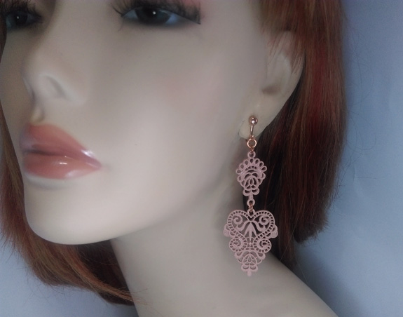 Rose Gold Clip On Dangle Earrings Musk Filigree Metal - Click Image to Close