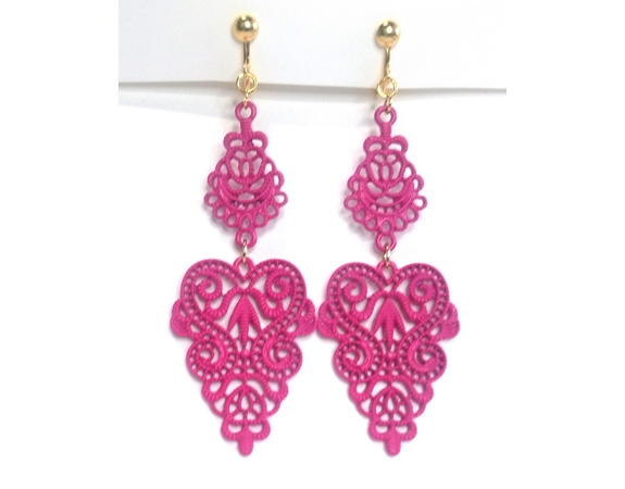pink clip on earrings