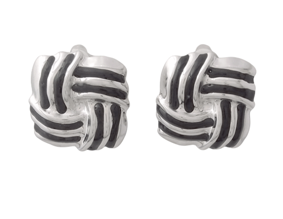 Silver Vintage Style Clip On Earrings in a Classic Knot Design - Click Image to Close
