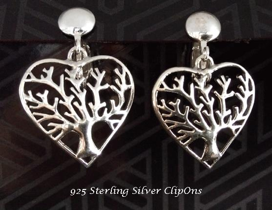 Sterling Silver Clip On Earrings, Tree of Life, Heart Shape - Click Image to Close