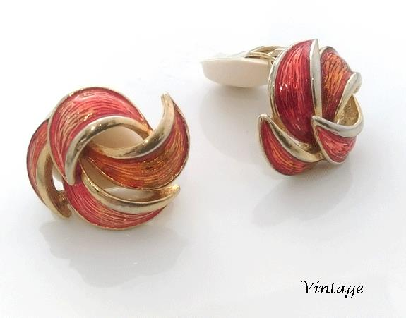enamel vintage clip on earrings