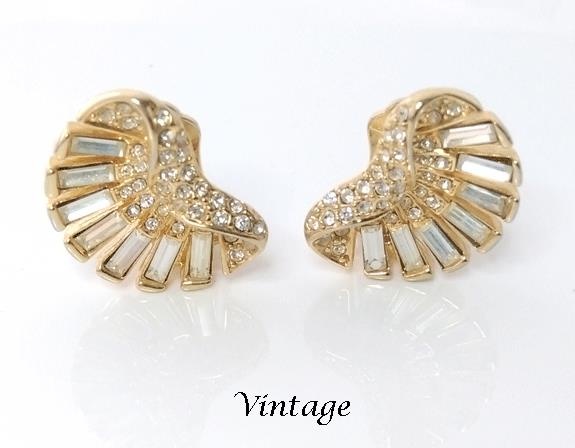 baguette crystal vintage clip on earrings