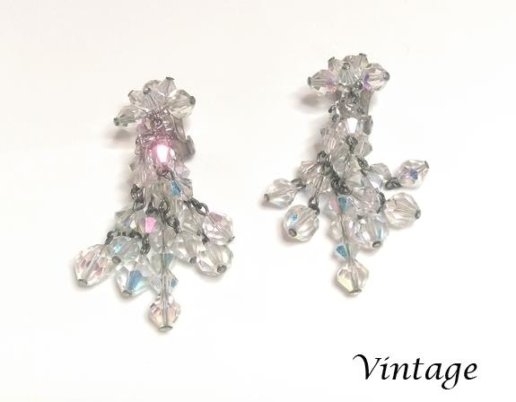Vintage Chandelier AB Crystal Clip On Earrings - Click Image to Close